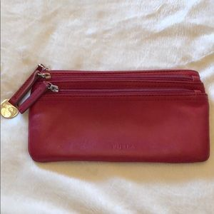 Furla red leather wallet ❤️